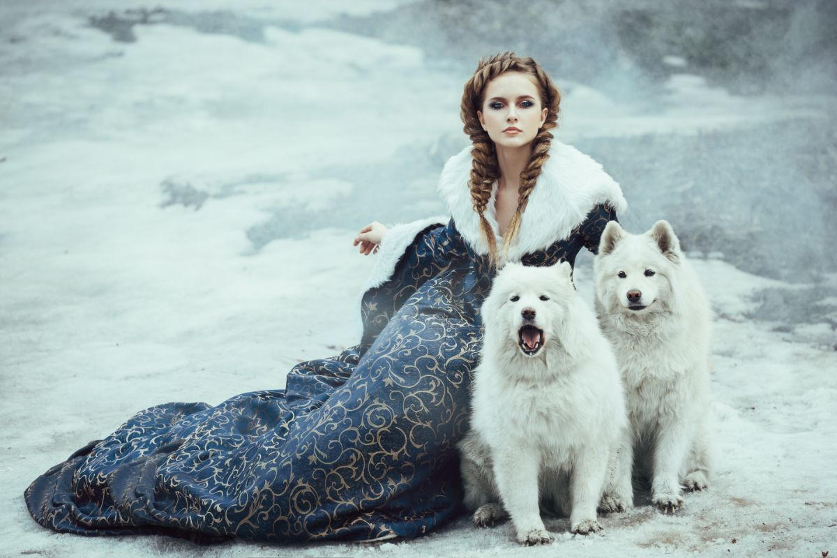 Snow Queen With Dogs